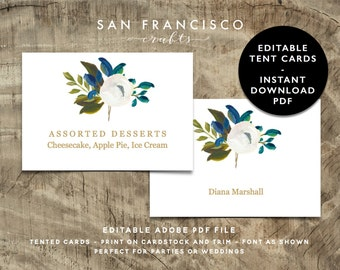 Editable Tent Card Template | PRINTABLE Name Cards or Food Tent Card | Diana Collection - Instant Download - Adobe PDF File