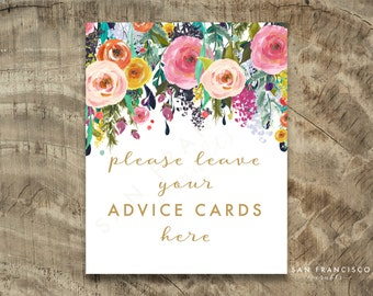 Advice Cards Sign, Please leave your cards | 8x10 | Wedding, Bridal Shower, Baby Shower, Floral | Printable, Digital File - ASHLEY - PDF