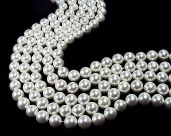 White Shell Pearl Round Beads