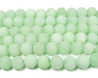 New Jade Light Green Matte Round Gemstone Beads