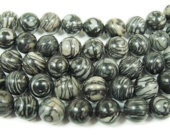 Black Web Jasper Round Gemstone Beads