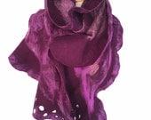 Nuno Felted scarf , Merino scarf , Unique Wool scarf, Felted Ruffled  Scarf , Purple Wrap, Iona Loyola
