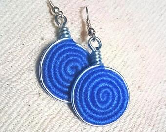 Vortex Yarn earrings -Cornflower blue