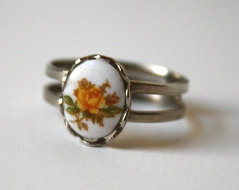 Yellow Rose Cameo Andustable Silver Ring one size fits all