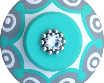 Turquoise Grey Knobs Jeweled Knobs Hand Painted Knobs Wood Dresser Knobs Decorative Knobs Nursery Art Kids Drawer Pulls Knobs