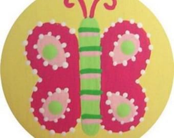 Butterfly Knobs Hand Painted Wood DecorativeKnobs  Kids Knobs Childrens Dresser Knobs Nursery Furniture Knobs Baby Room Drawer Knobs Pulls