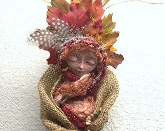 Abundance, Prosperity and Protection. Moon Goddess, assemblage art doll OOAK