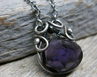 Februarius necklace ... sterling silver / fine silver / wire wrapped / genuine purple zircon