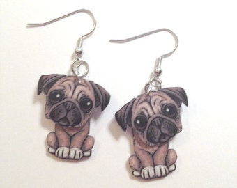 Whimsical Pug 3D Earrings Handcrafted in USA