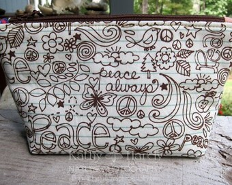 Peace Always | Makeup Bag | Lined Zipper Bag | Love and Peace Fabric | Peace Sign Fabric Bag | Small Gift Under 20 | Camera Accessory Bag