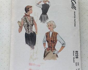 1950 McCall's Weskit Pattern No. 8228