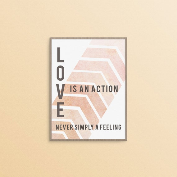 feminist quote print - love is an action never simply a feeling digital art print - 5x7 print