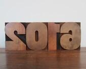 Antique Letterpress Wood Type Printers Block Numbers Year 2016 Set