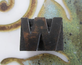 Antique Letterpress Wood Type Printers Block Letter W