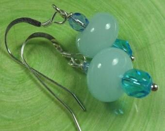 Pale opal blue lampwork dangle earrings