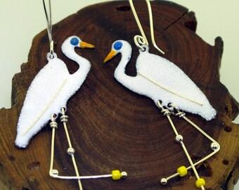 Egret Earrings, enameled bird earrings by Kathryn Riechert
