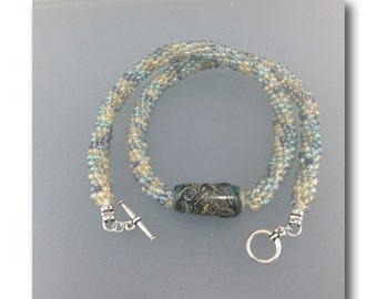 "DMB ""Stormy Seas"" beaded kumihimo rope necklace with handmade focal lampwork bead"