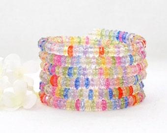 Multicolor Bracelet Memory Wire Wraparound Cuff Spellbound Surround - Bright Pastel Bracelet - Gift for Wife