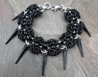 Chainmaille Bracelet - Romanov Byzantine - Black Chainmaille - Gothic Bracelet - Chainmail Bracelet - Gothic Jewelry