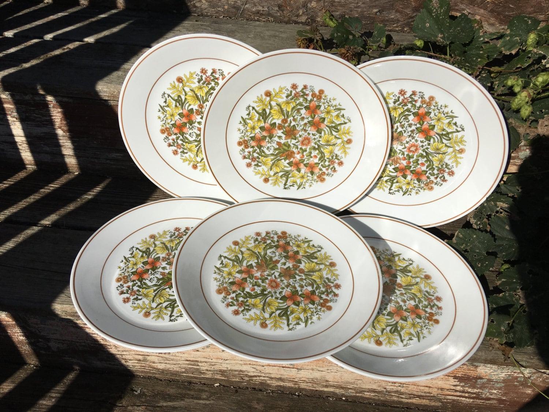 Set Of 8 Vintage Corelle Indian Summer Pattern Dinner