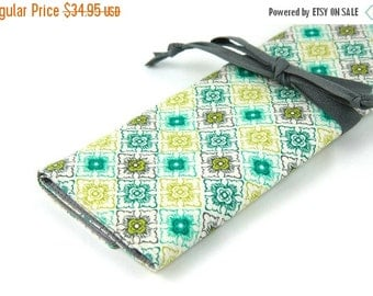 Sale 25% OFF Large Knitting Needle Case - Stacy - gray pockets for circular, straight, dpn, or paint brushes