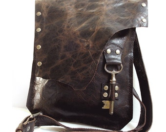 Brown Leather Messenger Bag with Antique Skeleton Key - Medium Rocker Biker Chick Steampunk Goth
