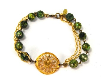 QUEENS JEWELS Steampunk Bracelet with Circa 1700s Pocket Watch Bit Green Pearls Featured on Oliogoville Exceptional One of a Kind Piece