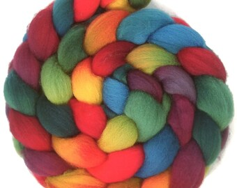Handpainted Falkland Wool Roving - 4 oz. ARCADE- Spinning Fiber