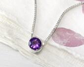 February Birthstone Necklace - Fair Trade 6mm Amethyst Gem - Sterling Silver - Handmade