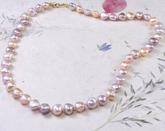 Multi-color Pearl Necklace, Hand-knotted with Silk, 18k Gold Fittings