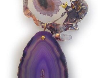 amethyst crystal  stalactite  and Jumbo Purple druzy agate slice Pin Brooch in Sterling Married Metals    by Cathleen McLain McLainJewelry