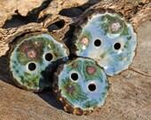 Handmade RAKU Button Set of Three