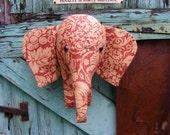 Fabric animal  head. Elephant  trophy head,  wall hanging. Faux  Taxidermy. Shabby chic . Sandersons vintage fabric.