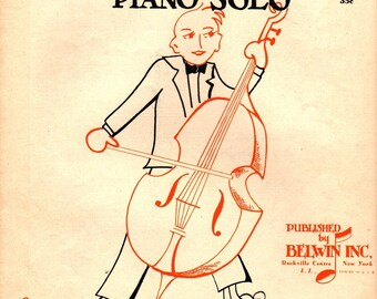 The Cellist Piano Solo + N. Louise Wright + 1957 + Vintage Sheet Music