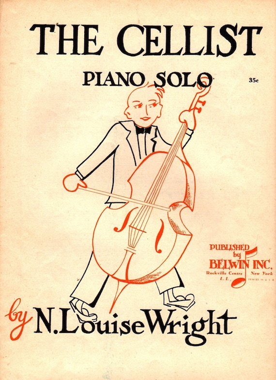The Cellist Piano Solo - N. Louise Wright - 1957 - Vintage Sheet Music