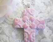 Cross Pendant, Light Pink Jewelry, Optional Necklace, Christian Jewelry, Gift for Easter First Communion Confirmation Baptism, polymer clay