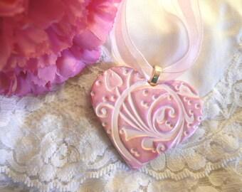Wedding Bouquet Charm, Pink White Heart Ornament, Elegant Heart, Wedding Keepsake, Bride Gift Bridesmaid Gift, Hanging Wall Art polymer clay