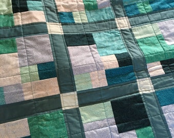 CityScapes small lap quilt in blue, green, teal, lightweight blanket, modern quilt, baby quilt, gift for guys
