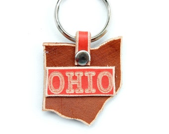 Ohio Key Ring Leather