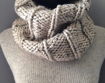 Wheat Tweed Cowl Ivory Chunky Soft Cream Neck Warmer Scarf