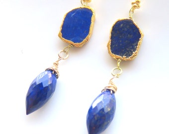 Blue Lapis Earrings, Lapis Lazuli with Gold Leaf Bezel, Marquis Cut Teardrops, Gold Vermeil and Blue Lapis, One of a Kind Blue Earrings