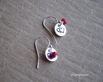 DOUBLE HEARTS sterling silver and ruby teeny tiny earrings by srgoddess