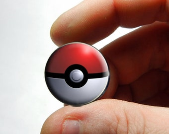 Pokemon Go Ball 25mm 20mm 16mm 12mm 10mm or 8mm Glass Cabochon  - for Jewelry and Pendant Making
