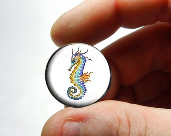 Seahorse Glass Cab Cabochon 25mm 20mm 16mm 12mm 10mm or 8mm - Design 8  - for Jewelry and Pendant Making