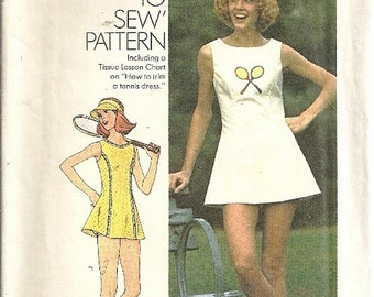Simplicity 6905 Misses Tennis Dress, Panties, Visor 70s Vintage Sewing Pattern Size 6, 8 Bust 30 1/2, 31 1/2 Uncut Sportswear