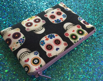 Sugar Skull Wallet - Zipper Pouch - Skull Bag - Change Purse - Sugar Skull Pouch - ID Holder - Day of the dead bag - Skull change purse