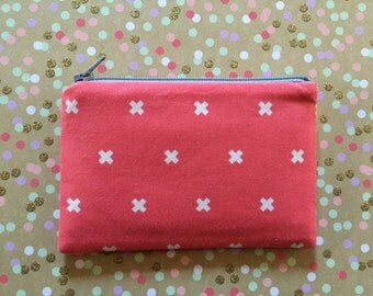 Cross print - bag - small clutch - zipper pouch - change purse - wallet