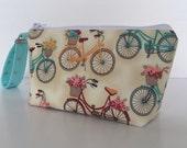 Retro bicycles makeup bag  medium size  cosmetic purse  clutch purse  zipper pouch