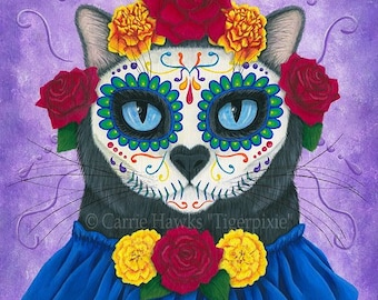 Day of the Dead Cat Art Gothic Mexican Sugar Skull Cat Fantasy Cat Art Print 12x16 Art For Cat Lovers Gift