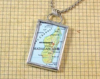 Madagascar Map Pendant Necklace